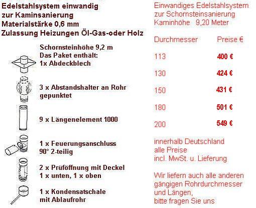 Kaminsysteme Preise 09130